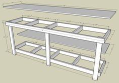 Garage work bench with measurements by http://www.wirelesscouch.net/~cluening/projects/garageworkbench/