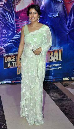 Kajol wore a mint green Shehlaa embroidered Saree at Ekta Kapoor's Iftar  in Mumbai, Aug 07  (Photo: Varinder Chawla)