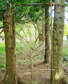 Great trellis for plants or garden screen in between trees Garden Crafts, Garden Projects, Garden Art, Garden Trellis, Garden Gates, Wall Trellis, Trellis Panels, Trellis Fence, Fence Gate