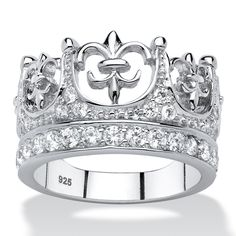 Fit for a queen, this crown ring is royally beautiful with its cutout crown design and glitter pave cubic zirconia accen-05gsHDwP