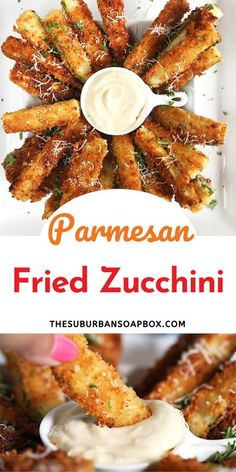 Give the spiralizer a break and make these crispy Parmesan Crusted Fried Zucchini Sticks. Coated in Panko breadcrumbs, parmesan and buttermilk then lightly pan fried, you'll never eat regular fries again. So amazingly addictive! Fried Zucchini Sticks, Fried Zucchini Recipes, Zucchini Fries, Appetizer Salads, Healthy Appetizers, Appetizer Recipes, Fun Easy Recipes, Easy Meals, Yummy Recipes
