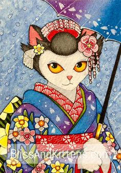 Japanese Maiko Cat Portrait ACEO ATC original by BlissAndKittens