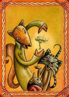 Fox and cat by Laura Sighinolfi Pinocchio, Winter Illustration, Illustration Art, Storybook Characters, Rooster, Fairy Tales, Opera, Projects To Try, Fox