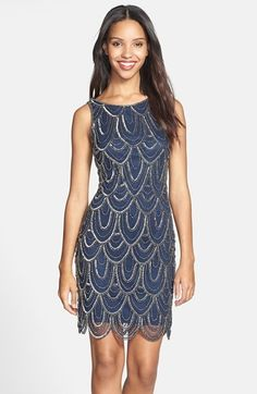 Strands of gleaming beads and sequins create an Art Deco-inspired pattern atop the mesh overlay of a short evening dress with a rounded scalloped hemline. Color(s): navy. Brand: Pisarro Nights. Style Name: Pisarro Nights Embellished Mesh Cocktail $148.00 by nordstrom