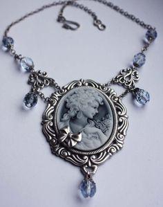 Gothic necklace filigree fantasy cameo necklace blue grey Victorian pendant $28