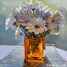 Original Oil Painting new 12x12 inch oil on panel. Morning Daisies on my table in an orange glass vase.