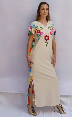 Folk Embroidery Multi floral tassels Embroidered Bohemian Linen Maxi Kaftan Dress 0027 ready to ship - Perfect Wedding Dress, Boho Wedding Dress, Boho Dress, Dress Up, Wedding Dresses, Folk Embroidery, Embroidery Fashion, Embroidery Dress, Floral Embroidery