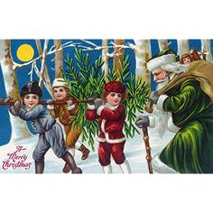 A Merry Christmas Kids Carrying Christmas Tree (12x18 SIGNED Print Master Art Print w/ Certificate of Authenticity - Wall Decor Travel Poster) -- To view further for this item, visit the image link. (This is an affiliate link) #WallArt