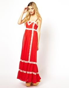 Little Mistress Maxi Dress with Lace Trim