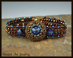 Beadwoven and Bead Embroidered Button Flower Bracelet
