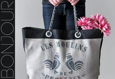 French Market Tote With Coco Chanel Style Chain Handles