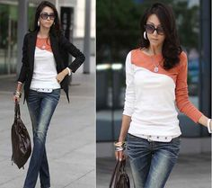 Sexy-lady-new-chic-splice-casual-soft-T-shirt-tops-blouse-4-color-size-S-N232