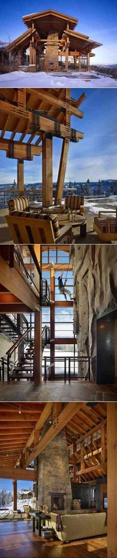 Awesome mountain home with indoor rock climbing wall and open air floor plan.