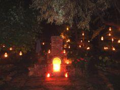 beautiful yard and lanterns