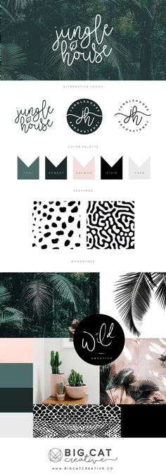 Branding Style Board for Jungle House | Get your own at www.bigcatcreative.co | Branding | Branding Style Board | Brand Board | Small Business | Creative Entrepreneur | Brand Design Inspiration | Logo Design Inspiration | Logo Design | Handwritten Logo | Color Palette | Moodboard | Script | Mood Board Inspiration | Brandboard | Green Blush | - Tap the link now to Learn how I made it to 1 million in sales in 5 months with e-commerce! I'll give you the 3 advertising phases I did to make it for…