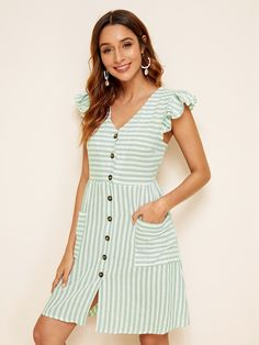 To find out about the Striped Button Front Dual Pocket Dress at SHEIN, part of our latest Dresses ready to shop online today! Simple Dresses, Cute Dresses, Casual Dresses, Summer Dresses, Linen Dresses, Cotton Dresses, Dress Outfits, Fashion Dresses, Latest Dress