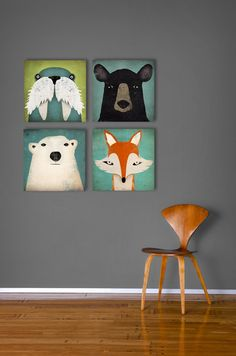 4 Native Vermont  12x12x1.5 Graphic Art Gallery Wrapped CANVAS wall art signed Fox, Polar Bear, Black Bear, Walrus by Ryan Fowler. $249.00, via Etsy.
