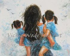 Mother Two Daughters Art Print mother paintings mom two Mother Daughter Art, Mother Art, Mother Daughter Tattoos, Tattoos For Daughters, Two Daughters, Mother And Child, Mother Painting, Painting Of Girl, Sisters Art