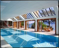 Pool house in San Francisco with NanaWall bifold patio doors. Luxury Swimming Pools, Dream Pools, Indoor Swimming Pools, Indoor Outdoor Pools, Lap Pools, Luxury Pools, Backyard Pools, Pool Decks, Pool Landscaping
