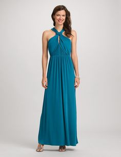 Long Halter Dress:Proof that the star of the party doesn't always have to be little and black: a long, flowy shape and textural detail make this stunner a candidate for head-turning. Halter neck with knot detail and keyhole at front. Ruched front of bodice and skirt.