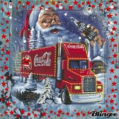 Merry Christmas mit Coca Cola Animated Pictures for Sharing Coca Cola Santa, Coca Cola Christmas, Merry Christmas, Coca Cola Ad, Always Coca Cola, Christmas Truck, Christmas Scenes, Vintage Christmas Cards, Christmas Pictures
