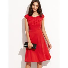 Red Sweetheart Collar Ruched Sleeveless Dress ($22) ❤ liked on Polyvore featuring dresses, sleeveless ruched dress, gathered dress, red sleeveless dress, scoop-neck dresses and ruched dress