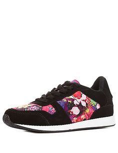 Tropical Print Lace-Up Sneakers: Charlotte Russe