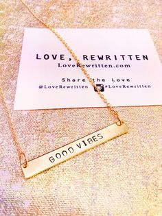 Good Vibes Necklace | Wearable Mini-Mantras Stamped for the Soul | Pick Your Positivity at http://loverewritten.bigcartel.com