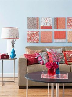 cardboard scrapbook paper wall art | Scrapbook Paper Art Wall. Decorating Blogs | Bright Bold and Beautiful