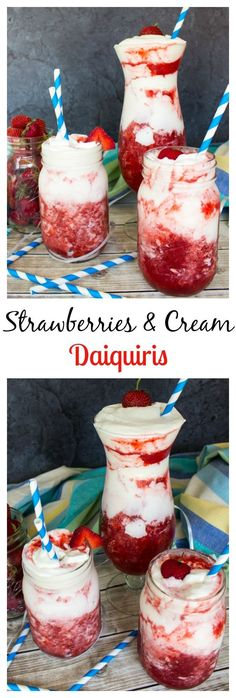 Strawberries and Cream Daiquiris–so easy! (Pour Drink) Strawberries and Cream Daiquiris–so easy! Refreshing Drinks, Summer Drinks, Alcohol Drink Recipes, Strawberry Alcohol Drinks, Strawberry Daiquiri Recipe, Slushy Alcohol Drinks, Liquor Drinks, Strawberry Shortcake, Frozen Drinks