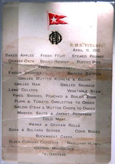 Original First Class Breakfast Menu on the Titanic - Photo © Getty Images