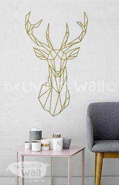 Tête de cerf géométrique Wall Decal, géométriques Deer Wall Art Home Decor, tête géométrique vinyle mur Stickers