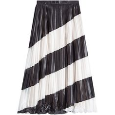 Marco de Vincenzo Pleated Diagonal Stripe Midi Skirt ($939) ❤ liked on Polyvore featuring skirts, stripes, stripe midi skirt, white crinkle skirt, white skirt, pleated skirt and knee length pleated skirt