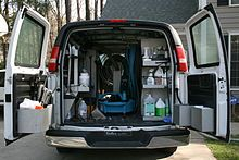 A van equipped with professional carpet cleaning tools in Durham, North Carolina