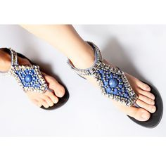 Cheap sandal shoes, Buy Quality fashion flipflops directly from China bohemia flat sandals Suppliers: fashion women bohemia flat sandal lady color stone beading fashion flipflop casual summer sandal shoes