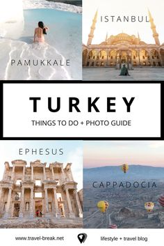 The best places to visit in Turkey for photography, adventure, luxury and culture -- including Istanbul, Cappadocia, Pamukkale, and Ephesus. Tips and wanderlust from the travel blog Travel-Break.net via @TravelBreak