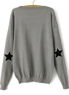 Grey Long Sleeve Stars Print Loose Sweater 21.00