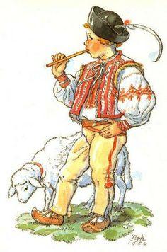 Marie Kvěchová-Fischerová German Folk, Easter Pictures, The Shepherd, Vintage Children, Vintage Postcards, Childhood Memories, Sheep, Machine Embroidery, Celtic