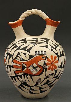 Acoma pottery double-necked polychrome wedding vase, circa 1980 by Eva Histia (American 1914-2005).