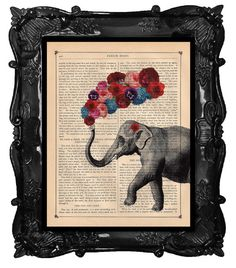 ELEPHANT with flowers - romantic gift of love - ELEPHANT roses hydrangeas art dictionary elephant art print antique book page elephant print via Etsy