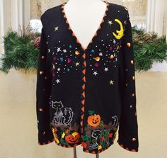 Designers Originals Studio Halloween Sweater XL Pumpkins Ugly Party Wear w/Jeans #DesignersOriginals #VNeckCardigan