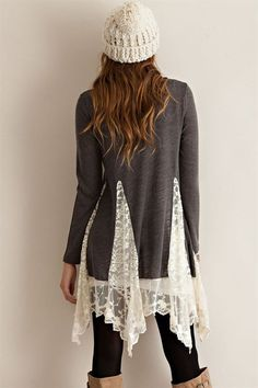 Tunic Sweater Top with Lace Detailing - another easy DIY with lace curtain and a sweater.