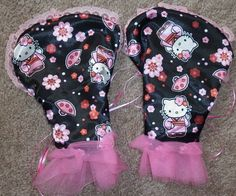 """""""Reversible Petal Gloves"""" Black Rose / Hello Kitty, by Cheyenne Hale...(I have one pair of these available for sale)"""