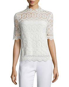 TCSD6 Elie Tahari Carolyn Half-Sleeve Lace Blouse, Antique