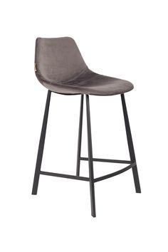 Franky Velvet Barstool / Counter Stool | Grey