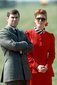 HRH Prince Andrew and HRH Sarah, Duchess of York visit the Red Arrows flying team at RAF Scampton, England August 1987