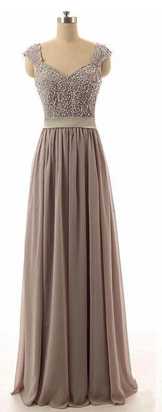 6246d31c0999b3 Fashion A-Line Sweetheart Chiffon Beading Bridesmaid Dress,Long Grey  Bridesmaid Dresses,Chiffon Prom Dress