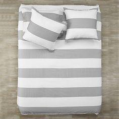 Neutral chic Hampton Stripe Bedding in Grey. $19.95 - $89.95 #ZGallerie