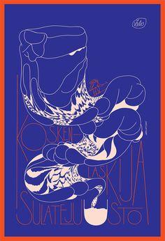 Poster illustration'Justiina laskee koskea'Valio (FI)