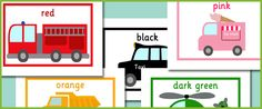 """Vehicle themed colour flash cards - click on """"Download Free PDF (English)"""" to get the printables"""
